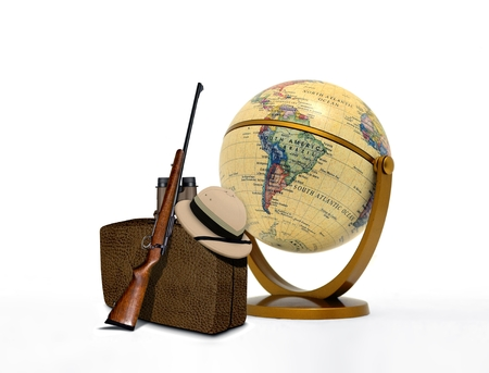 Hunting Trip Equipment and Vintage Globe photo