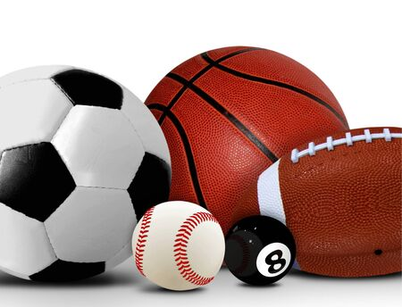 Sport and Leisure Balls over White photo