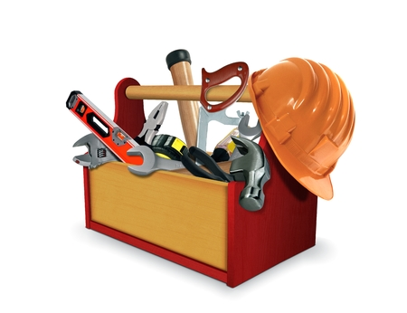 toolkit: Tool Box with Tools Stock Photo