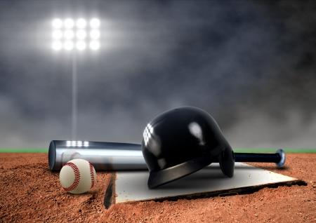 sport team: Baseball Equipment onder schijnwerper Stockfoto