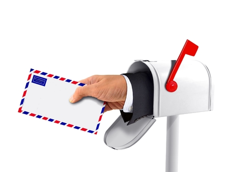 await: Mailbox and a Hand with an Envelope Stock Photo