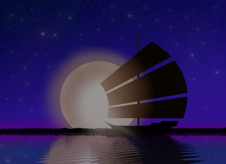 Ship Sailing at Sea with Moonlight photo
