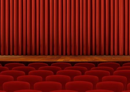 cortinas rojas: Asientos del teatro y las cortinas rojas