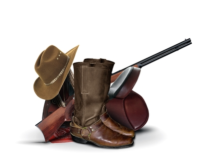 antique rifle: Cowboy Equipment over White