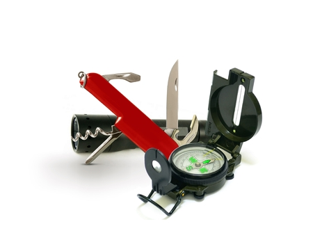pocket knife: Survival Tools with Pocket Knife and Compass Stock Photo