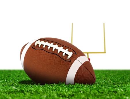 goal post: Football Ball on Grass with Goal Post