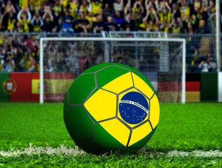 goal post: Brazil Ball with Goal Post and Crows Stock Photo