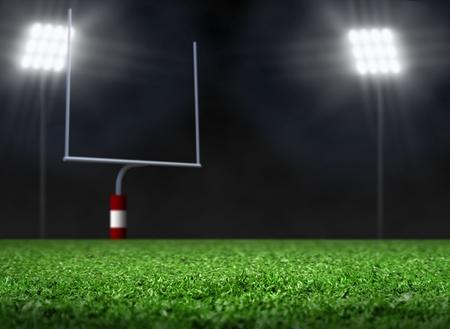 doelen: Leeg Voetbalveld met schijnwerpers Stockfoto