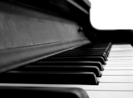 close in: Grand Piano Keys in Close Up Stock Photo