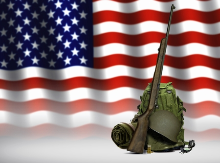 Military Equipment and American Flag photo