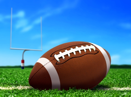 doelen: Voetbal bal op gras onder de blauwe hemel Stockfoto