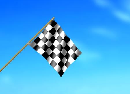 racing flag: Racing Flag Waving under Blue Sky