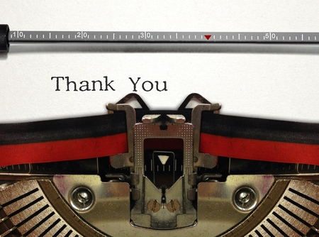 Typewriter Close Up with Thank You Word photo