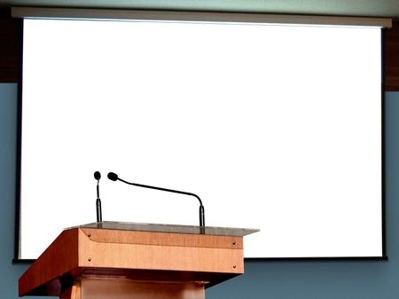 Seminar Podium met een leeg scherm