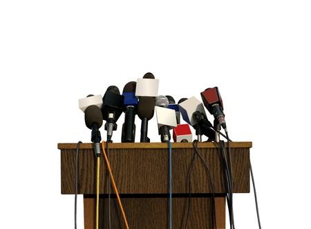 Press Conference Microphone Archivio Fotografico