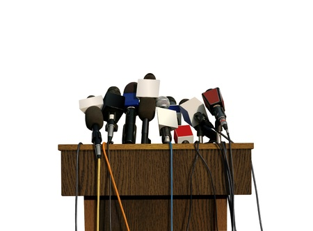 Press Conference Microphone Stock Photo