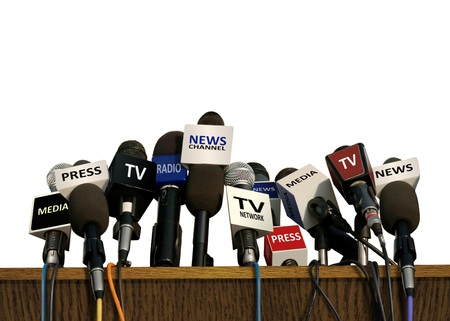 updates: Press and Media Conference Stock Photo