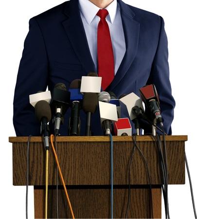 spokesperson: Press Conference with Spokesperson Stock Photo