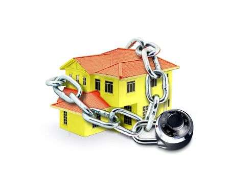 home security system: House in Chain and Combination Lock Stock Photo