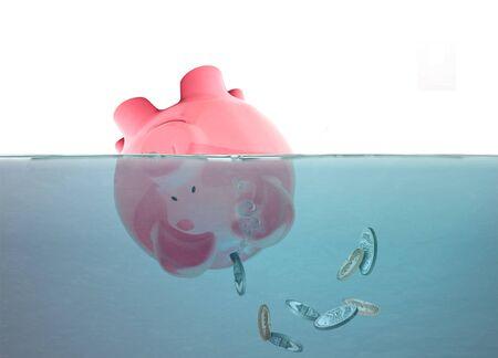 ahogarse: Ahogamiento guarra con las monedas que caen Foto de archivo