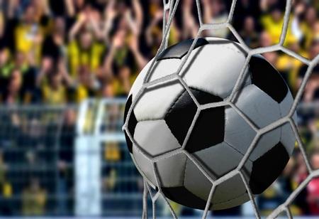spectators: Pelota en Goal Net con espectadores animando