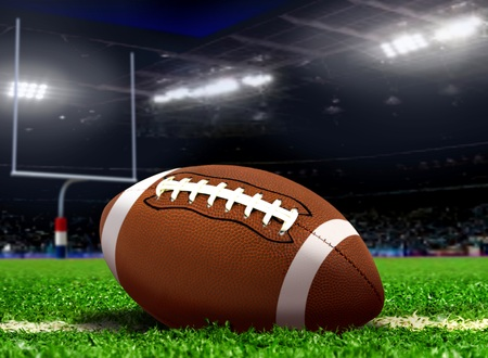 Football Ball on Grass in Stadium photo
