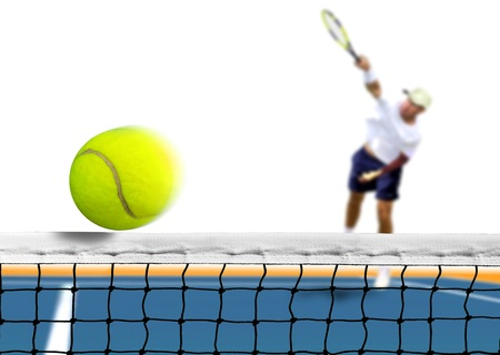 serve: Tennis Ball Serve over The Net Stock Photo