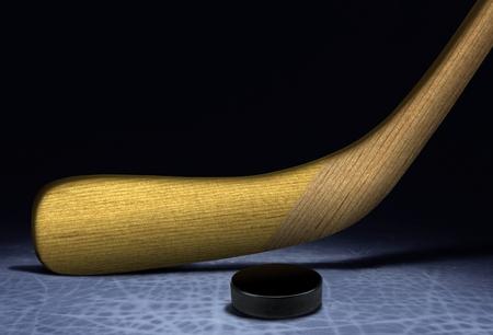 Ice Hockey Stick and Puck photo