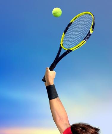 rackets: Man Making a Tennis Serve