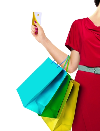 bag of money: Women with Shopping Bags and Credit Card