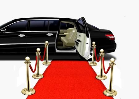 Zwarte Limo op Red Carpet Aankomst Stockfoto