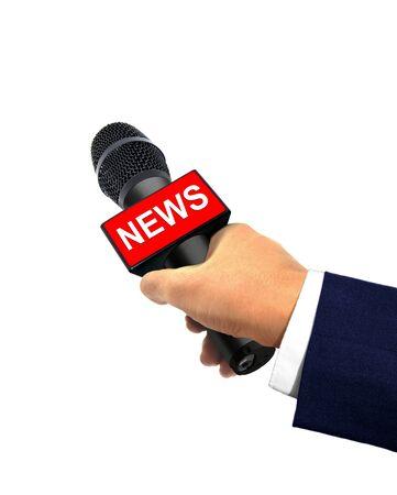 reportero: Reportero mano que sostiene el micrófono
