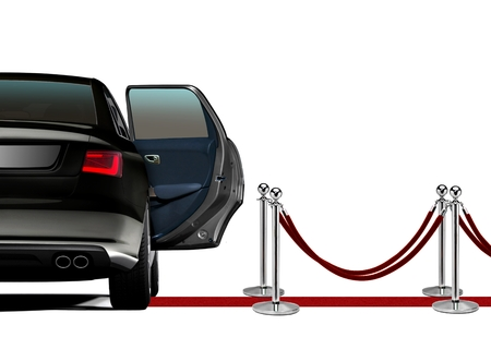 Limousine over Red Carpet Arrival Stockfoto