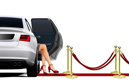 Limousine on Red Carpet Arrival with Sexy Leg