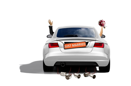 Just Married Couple in a Sport Car Stockfoto