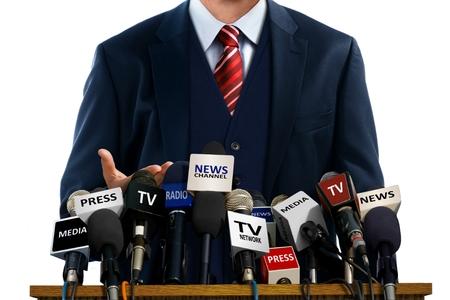 Hombre de negocios en Conferencia de prensa Foto de archivo - 34789598