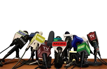 를 눌러 미디어 컨퍼런스 마이크 스톡 콘텐츠