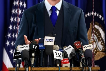 Político en la Conferencia de Prensa Foto de archivo - 34992867