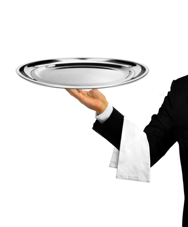 silver tray: Waiter Serving Empty Platter