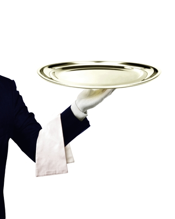podnos: Číšník sloužící Reklamní fotografie