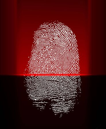 finger proof: Thumb print scanning with red laser beam Stock Photo