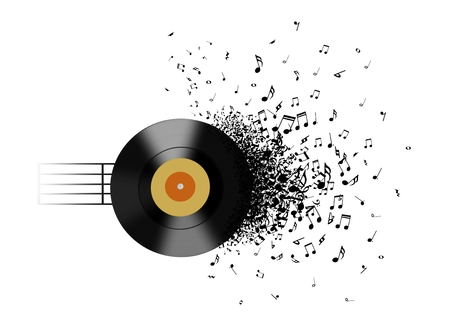 grooves: Vinyl record and music notes