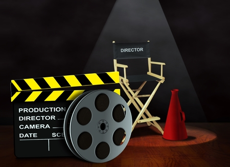 board of director: Film reel with clapper board and director chair