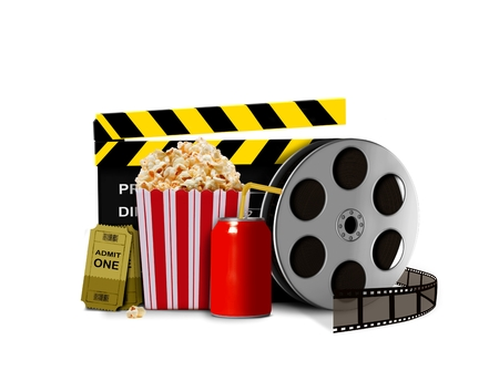 movie clapper: Pop corn with soda and movie shows Stock Photo
