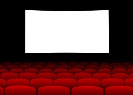 cine: Pantalla de cine en blanco con asientos vac�os Foto de archivo