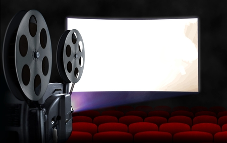Blank cinema screen with empty seats and projector