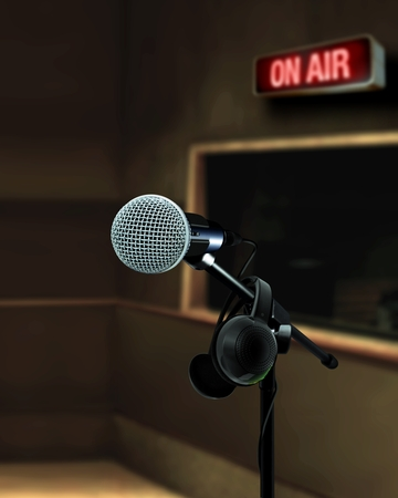 Microphone in recording studio on air photo