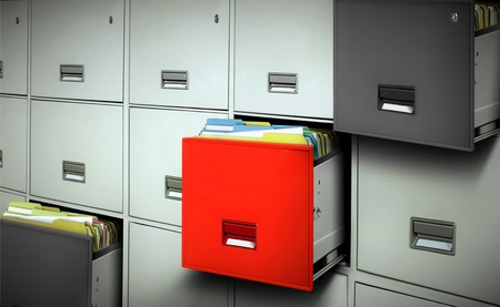 red black: File cabinet with files and open drawers