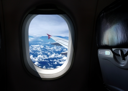 window view: Airplane window seat with view