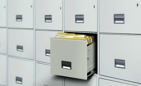internet search: File cabinet full with document files